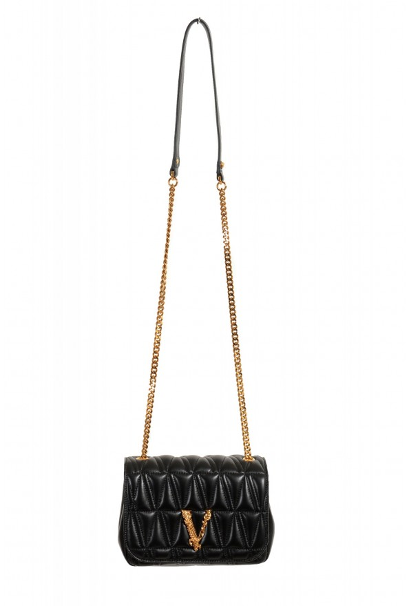 Versace Women's Black Virtus Quilted Leather Evening Bag