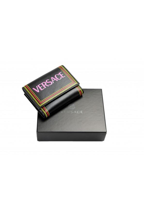 Versace Women's Black Logo Print Leather Bifold Wallet: Picture 4