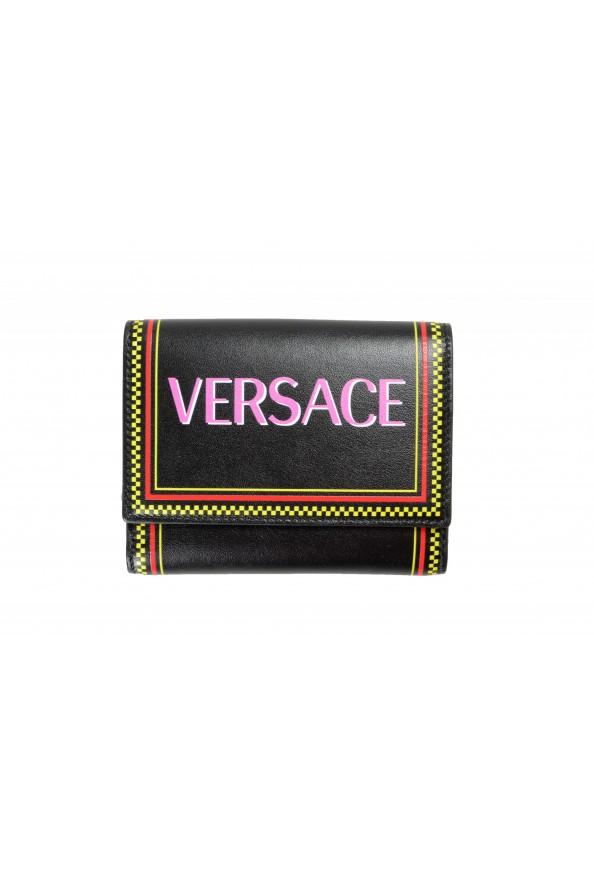 Versace Women's Black Logo Print Leather Bifold Wallet