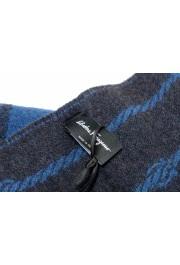 Salvatore Ferragamo Blue 100% Wool Striped Logo Print Shawl Scarf: Picture 2