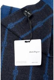 Salvatore Ferragamo Blue 100% Wool Striped Logo Print Shawl Scarf: Picture 3