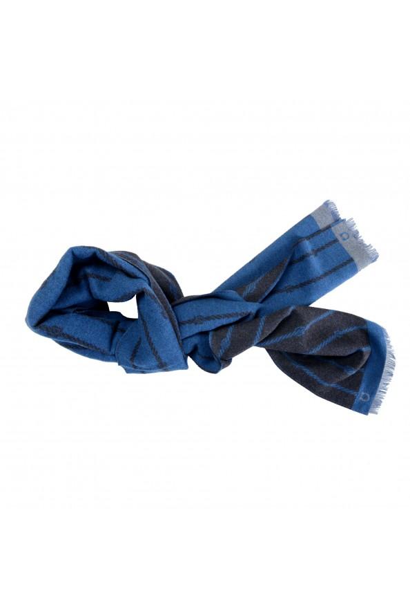 Salvatore Ferragamo Blue 100% Wool Striped Logo Print Shawl Scarf: Picture 4