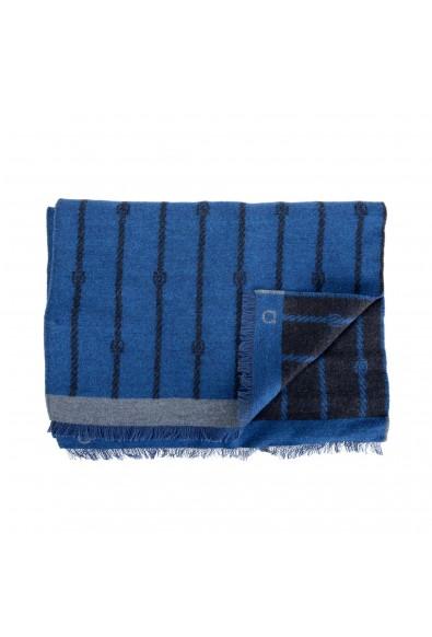 Salvatore Ferragamo Blue 100% Wool Striped Logo Print Shawl Scarf