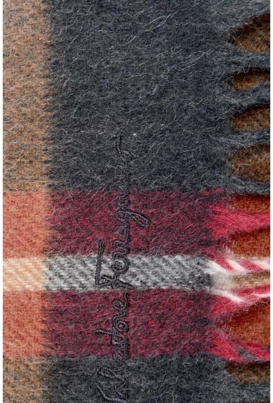 Salvatore Ferragamo Multi-Color 100% Cashmere Plaided Logo Print Shawl Scarf: Picture 2
