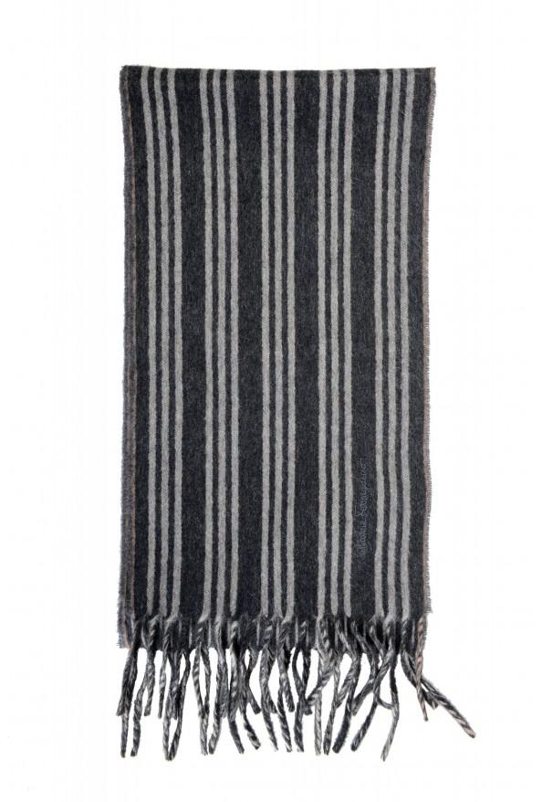 Salvatore Ferragamo Gray 100% Cashmere Striped Logo Print Shawl Scarf: Picture 2