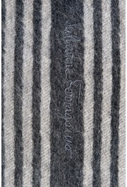 Salvatore Ferragamo Gray 100% Cashmere Striped Logo Print Shawl Scarf: Picture 3