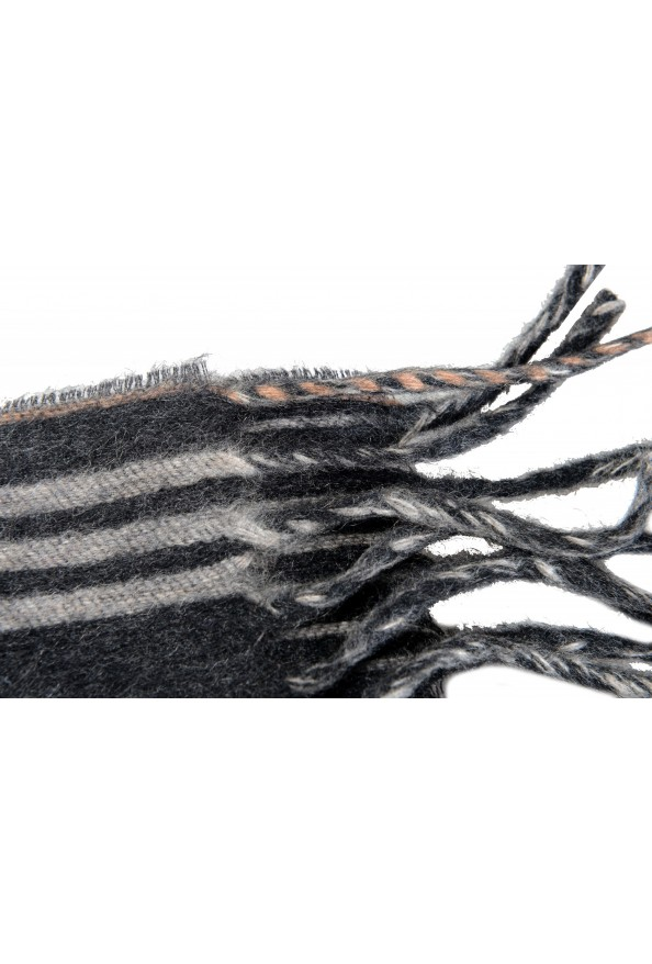 Salvatore Ferragamo Gray 100% Cashmere Striped Logo Print Shawl Scarf: Picture 4