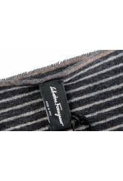 Salvatore Ferragamo Gray 100% Cashmere Striped Logo Print Shawl Scarf: Picture 5