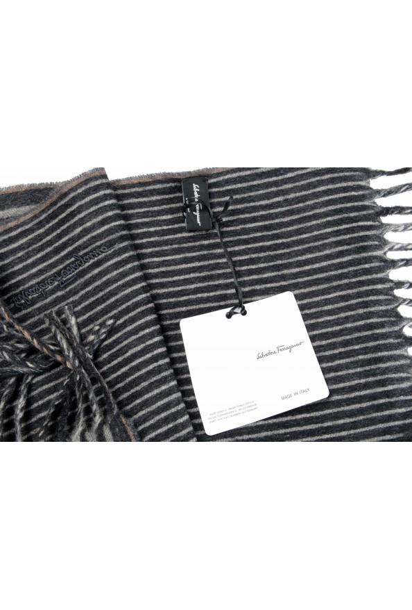Salvatore Ferragamo Gray 100% Cashmere Striped Logo Print Shawl Scarf: Picture 6
