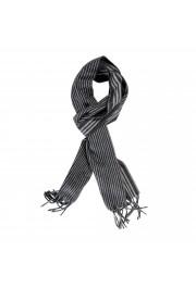 Salvatore Ferragamo Gray 100% Cashmere Striped Logo Print Shawl Scarf