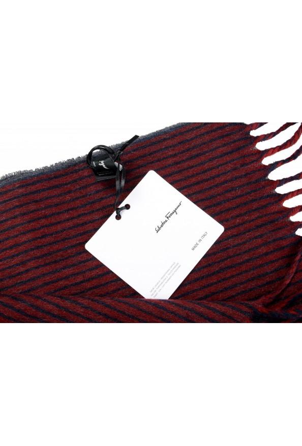 Salvatore Ferragamo Multi-Color 100% Cashmere Striped Logo Print Shawl Scarf: Picture 4