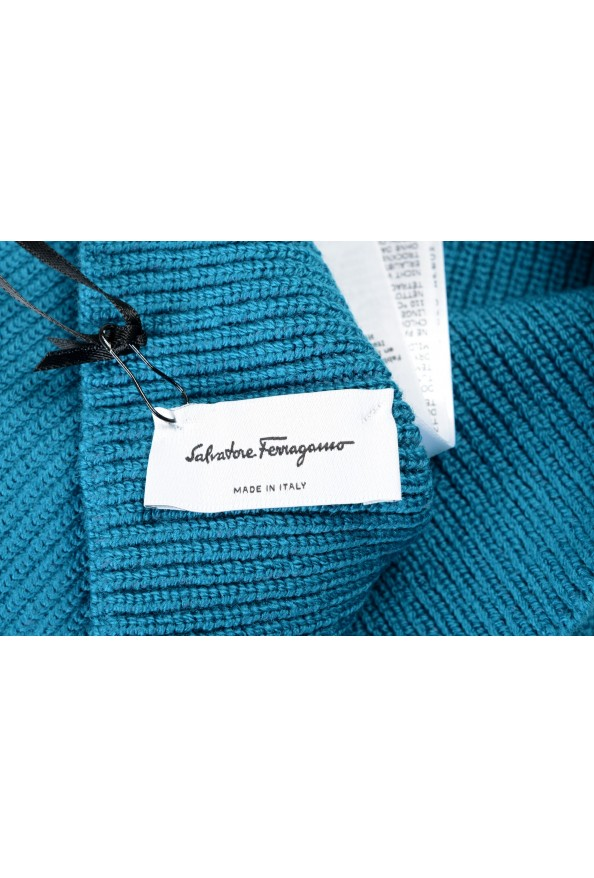 Salvatore Ferragamo Teal Blue Wool Neck Warmer Scarf: Picture 4