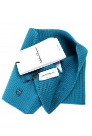 Salvatore Ferragamo Teal Blue Wool Neck Warmer Scarf: Picture 5