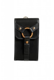 Versace Men's Leather Trimmed Black Mini Shoulder Bag: Picture 2