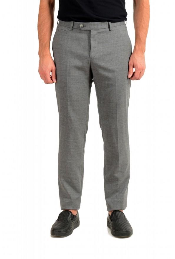 "Hugo Boss Men's ""T-Bryce"" Gray 100% Wool Flat Front Dress Pants"