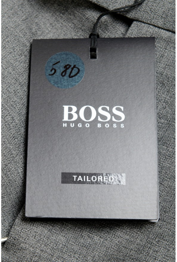 "Hugo Boss Men's ""T-Bryce"" Gray 100% Wool Flat Front Dress Pants: Picture 4"