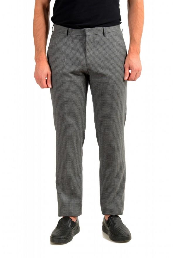 """Hugo Boss Men's """"Genius5"""" Slim Fit Gray 100% Wool Plaid Dress Pants"""