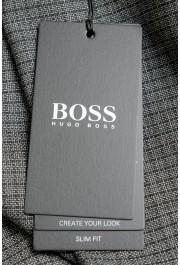 """Hugo Boss Men's """"Genius5"""" Slim Fit Gray 100% Wool Plaid Dress Pants: Picture 4"""