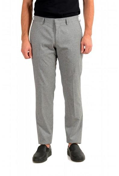 "Hugo Boss Men's ""Gido"" Gray Wool Silk Flat Front Casual Pants"