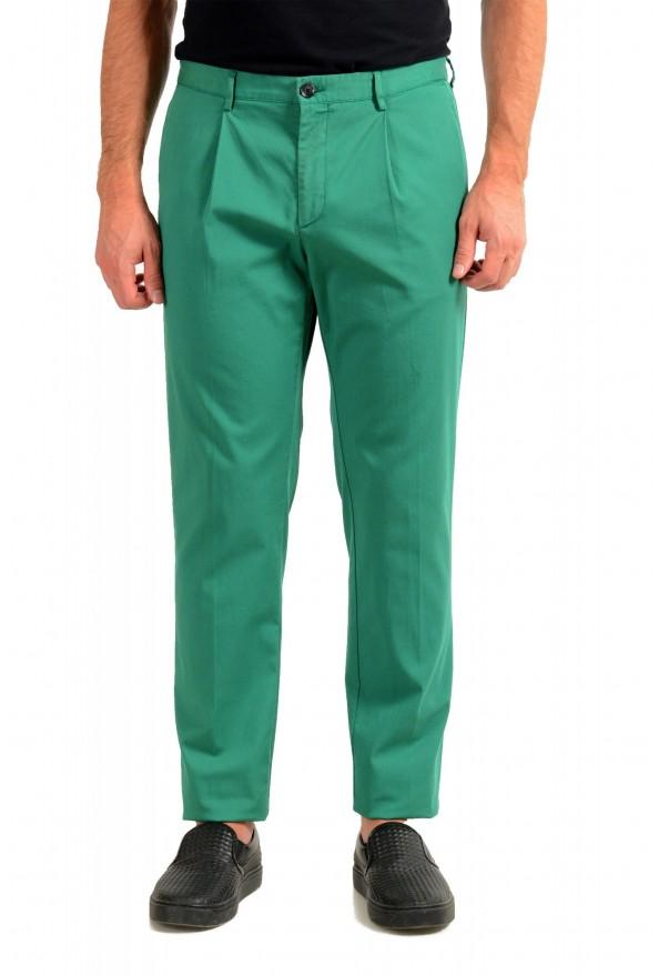 "Hugo Boss Men's ""Sleat"" Emerald Green Pleated Casual Pants"