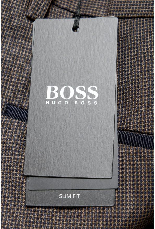 "Hugo Boss Men's ""Gido"" Brown 100% Wool Flat Front Pants: Picture 4"