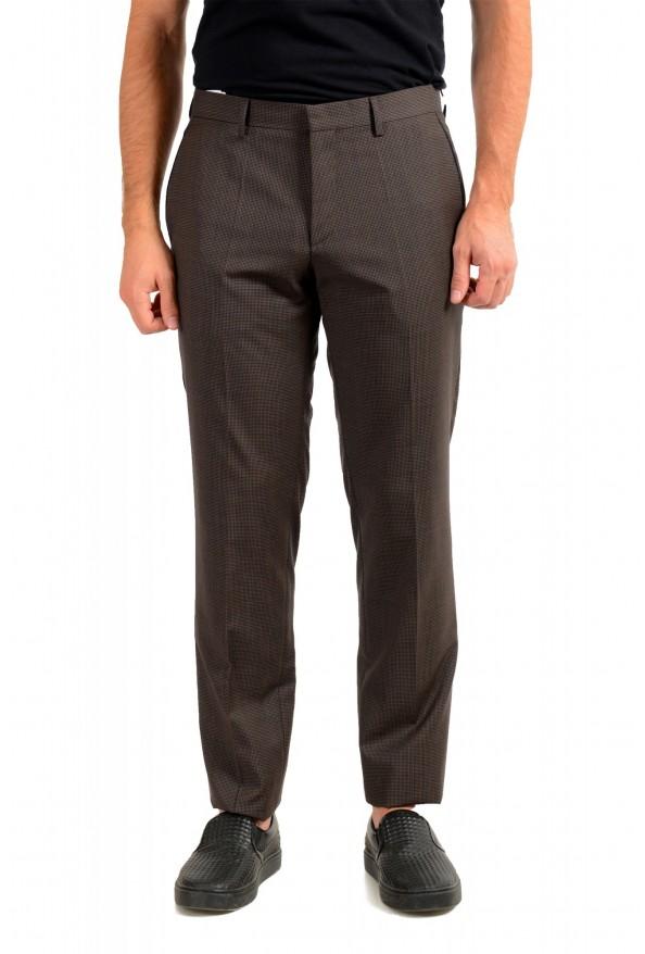 "Hugo Boss Men's ""Gido"" Brown 100% Wool Flat Front Pants"