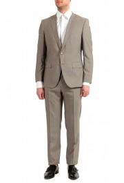 "Hugo Boss Men's ""Huge6/Genius5"" Slim Fit Beige Silk Wool Two Button Suit"