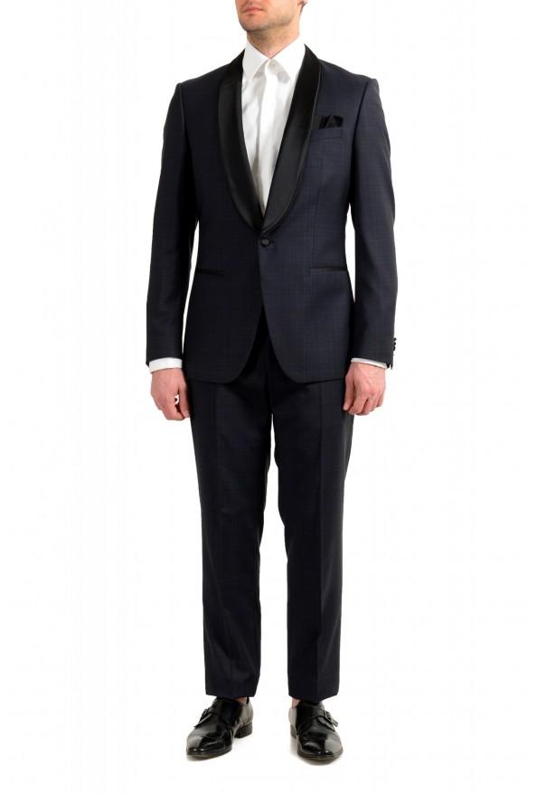 "Hugo Boss Men's ""Henry1/Glow1"" Slim Fit Blue 100% Wool Plaid Tuxedo Suit"