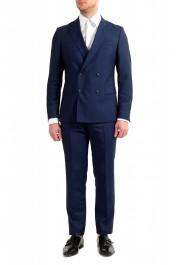 "Hugo Boss Men's ""Namil/Ben2"" Slim Fit Blue Mohair Wool Double Breasted Suit"