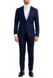 """Hugo Boss Men's """"Reyno4/Wave2"""" Extra Slim Fit 100% Wool Blue Two Button Suit"""
