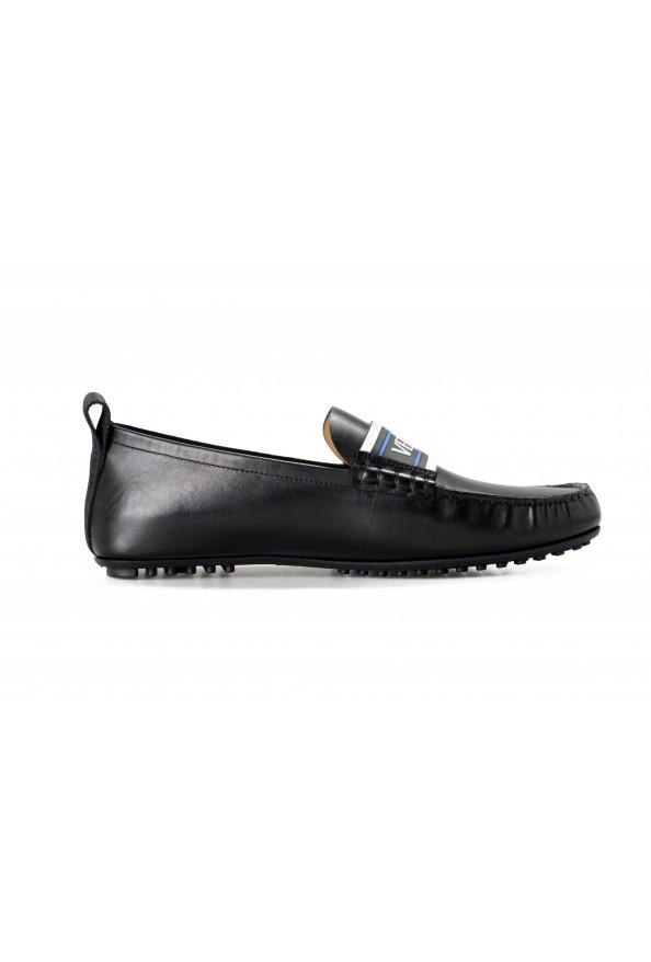 Versace Men's Black Logo Print Leather Moccasins Driving Shoes: Picture 4