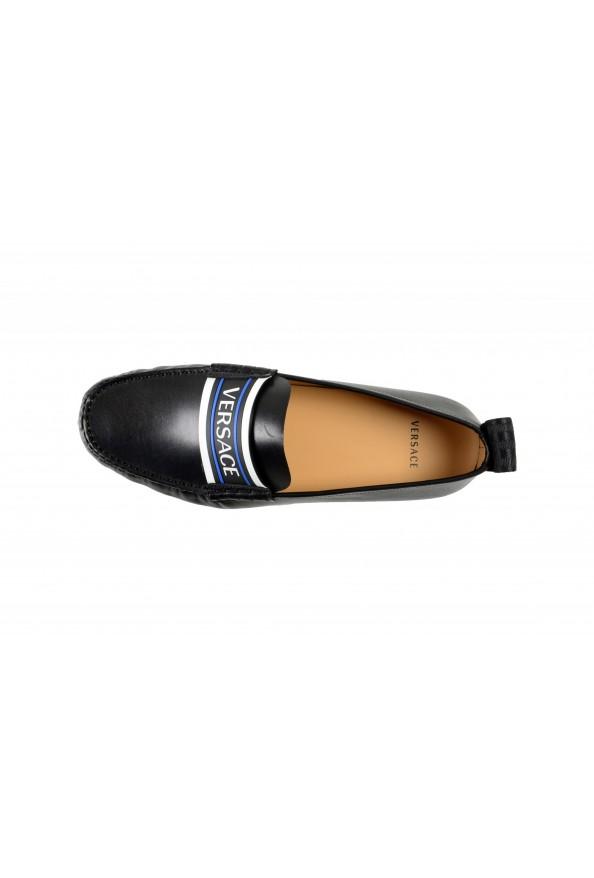 Versace Men's Black Logo Print Leather Moccasins Driving Shoes: Picture 7