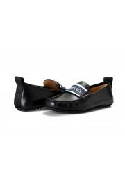 Versace Men's Black Logo Print Leather Moccasins Driving Shoes: Picture 8