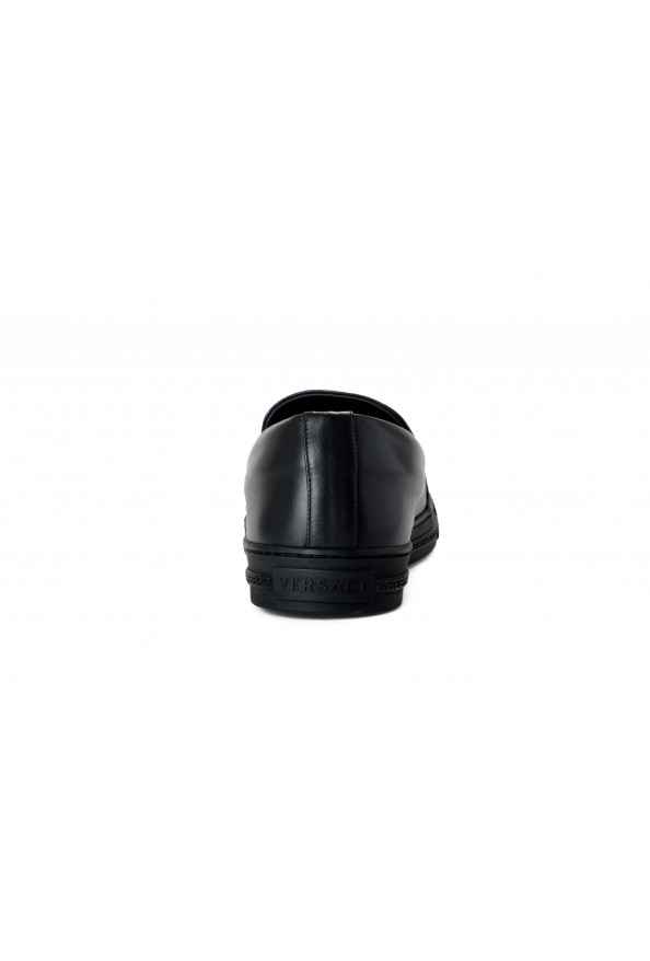 Versace Men's Black Embellished Leather Moccasins Slip On Loafers Shoes: Picture 3
