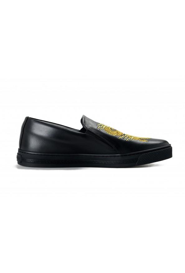 Versace Men's Black Embellished Leather Moccasins Slip On Loafers Shoes: Picture 4