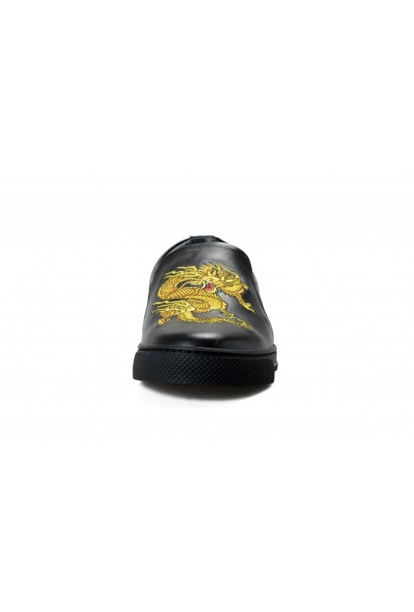 Versace Men's Black Embellished Leather Moccasins Slip On Loafers Shoes: Picture 5