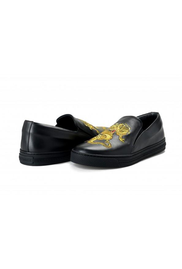 Versace Men's Black Embellished Leather Moccasins Slip On Loafers Shoes: Picture 8