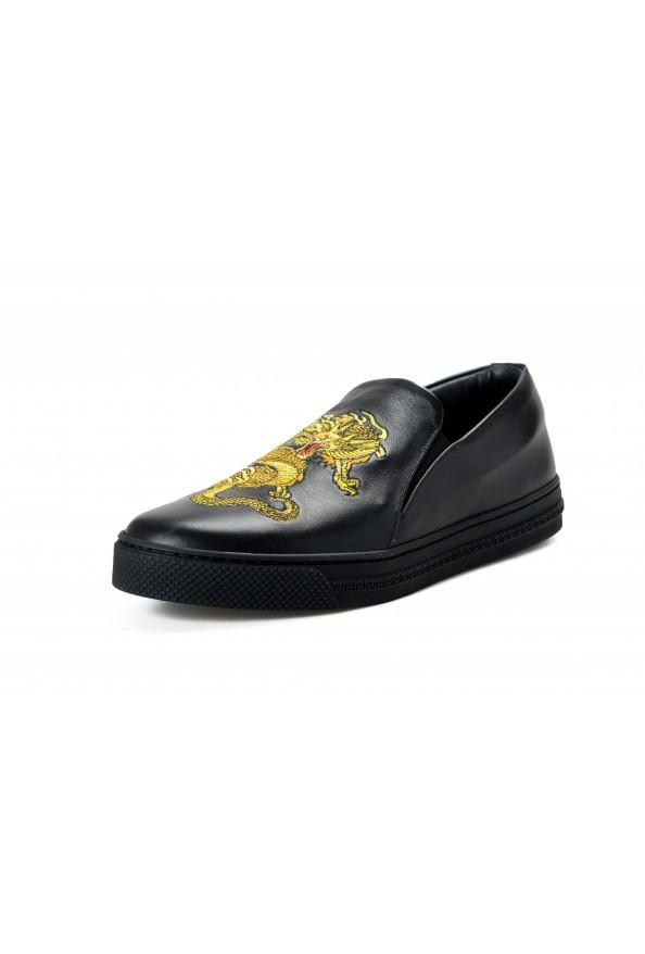 Versace Men's Black Embellished Leather Moccasins Slip On Loafers Shoes