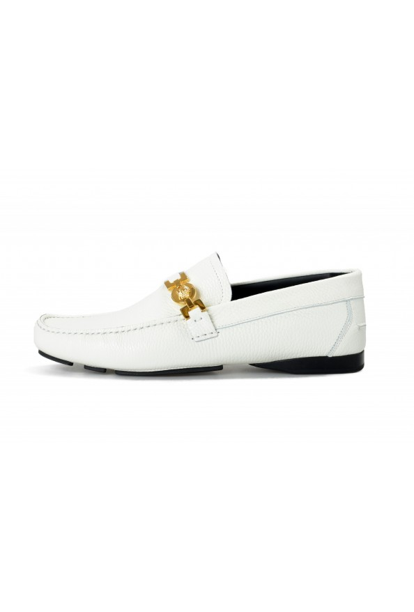 Versace Men's Ivory Textured Leather Moccasins Slip On Loafers Shoes: Picture 2