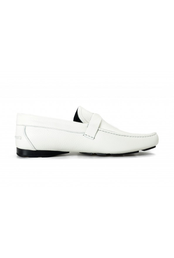 Versace Men's Ivory Textured Leather Moccasins Slip On Loafers Shoes: Picture 4