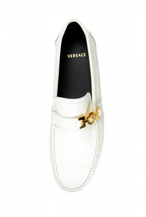 Versace Men's Ivory Textured Leather Moccasins Slip On Loafers Shoes: Picture 7