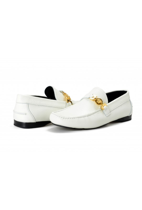 Versace Men's Ivory Textured Leather Moccasins Slip On Loafers Shoes: Picture 8