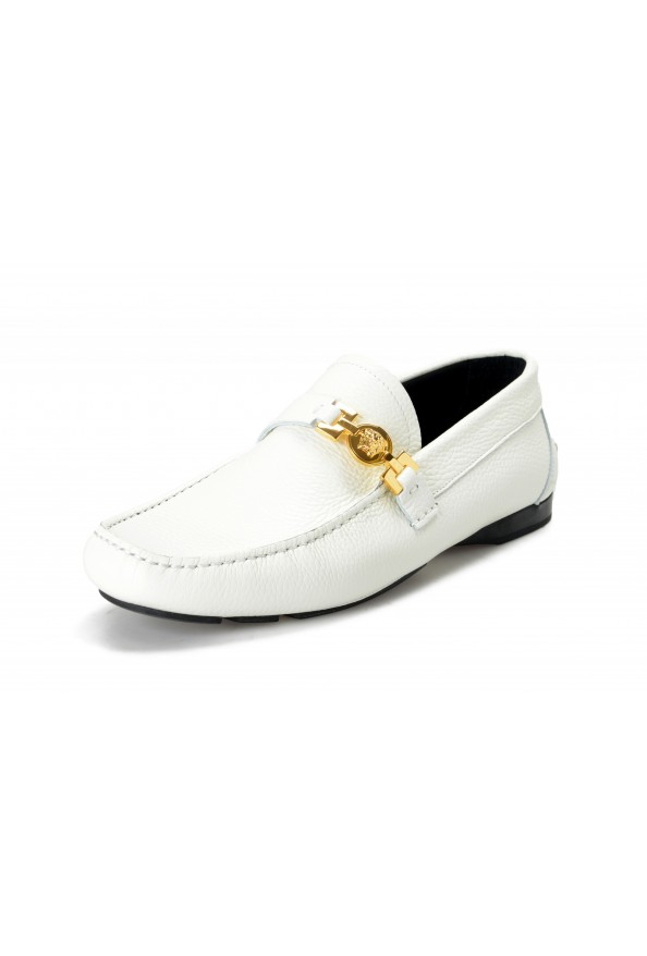 Versace Men's Ivory Textured Leather Moccasins Slip On Loafers Shoes
