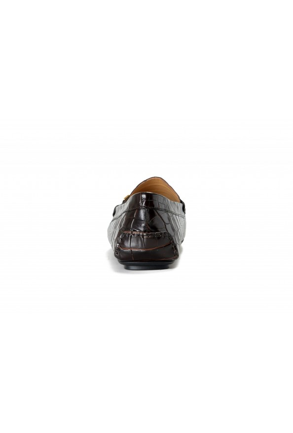 Versace Men's Dark Brown Croc Print Leather Moccasins Driving Shoes: Picture 3