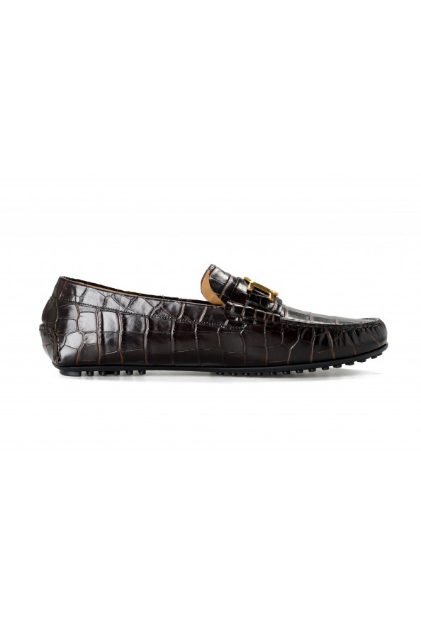 Versace Men's Dark Brown Croc Print Leather Moccasins Driving Shoes: Picture 4