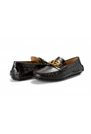 Versace Men's Dark Brown Croc Print Leather Moccasins Driving Shoes: Picture 8