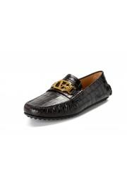 Versace Men's Dark Brown Croc Print Leather Moccasins Driving Shoes