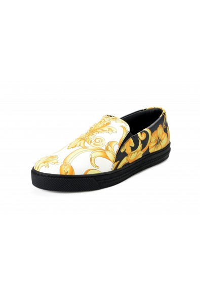 Versace Men's Barocco Print Leather Moccasins Slip On Loafers Shoes