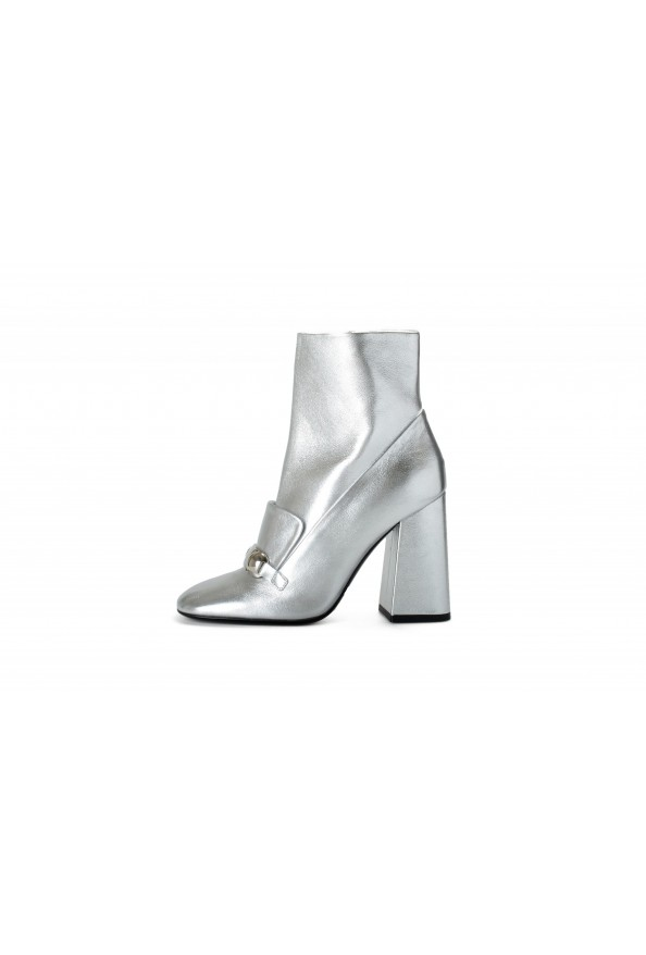 """Burberry Women's """"Brabant"""" Silver Leather Heeled Bootie Shoes: Picture 2"""
