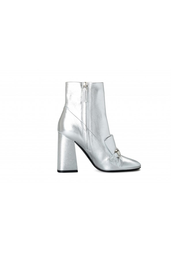 """Burberry Women's """"Brabant"""" Silver Leather Heeled Bootie Shoes: Picture 4"""
